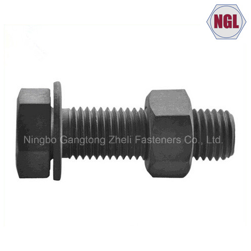 DIN933 Carbon Steel Standard Heavy Hex Bolt, Black, Zinc Plated, HDG